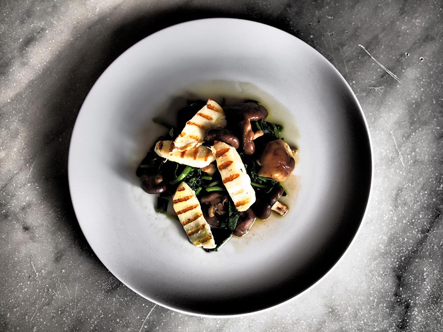 Shiitaki Mushrooms, Spinach and Grilled Halloumi