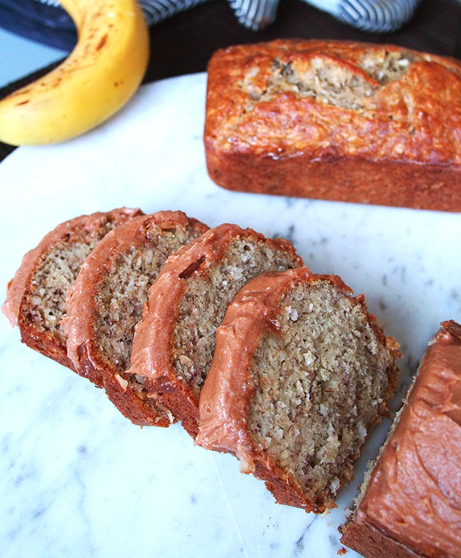Banana Coconut Bread with Red Bean Buttercream Frosting | the Worktop