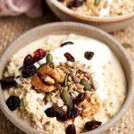 Bircher Muesli Swiss Oatmeal - Bowl to show creamy bircher with toppings | The Worktop