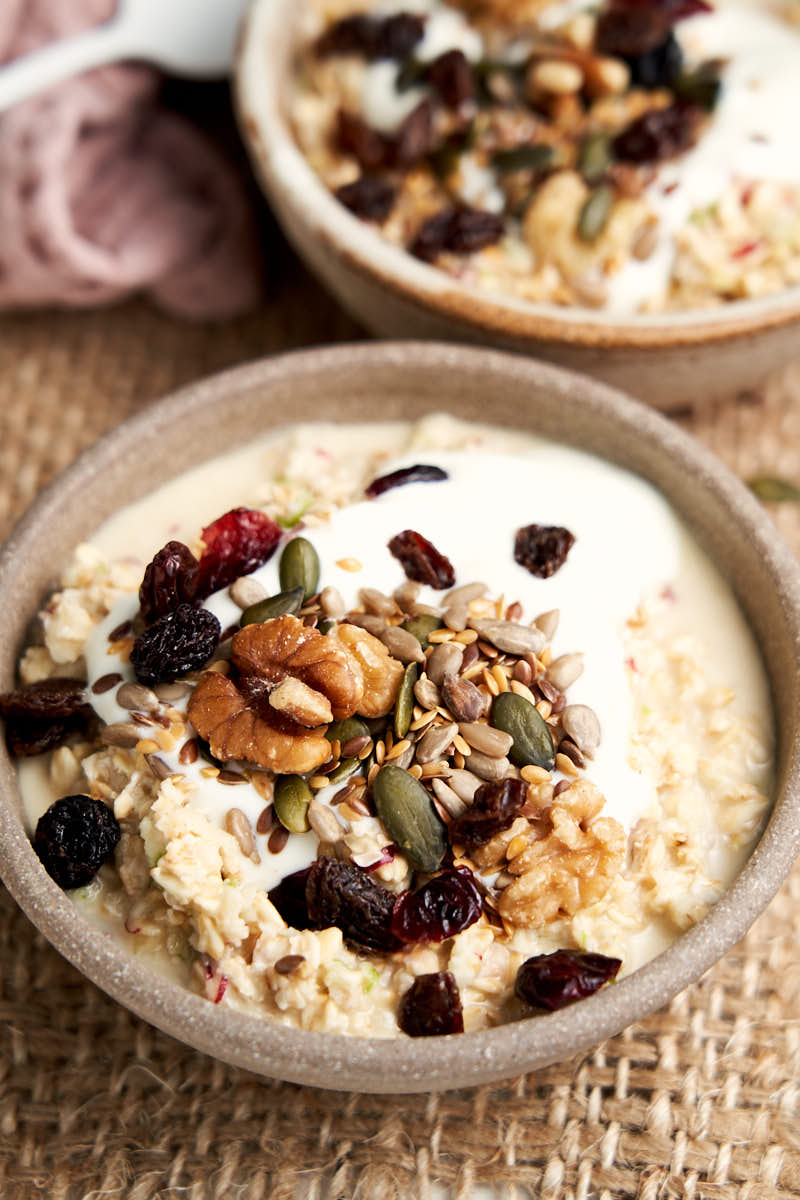 Bircher Muesli - bowl showing Swiss oatmeal ready to serve for breakfast | The Worktop