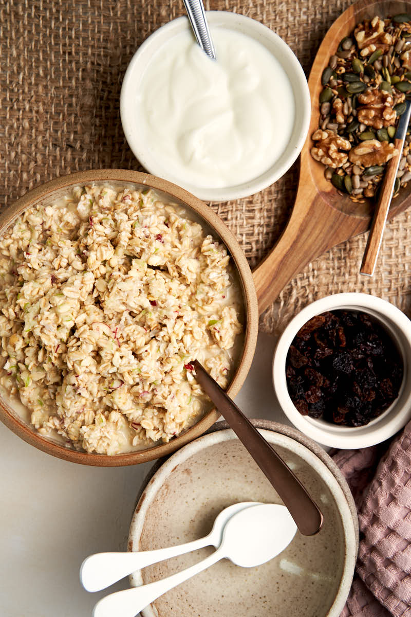 Classic Bircher Muesli - bowl of oats soaked in apple juice ready to be served | The Worktop