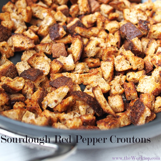 Sourdough Red Pepper Croutons | the Worktop