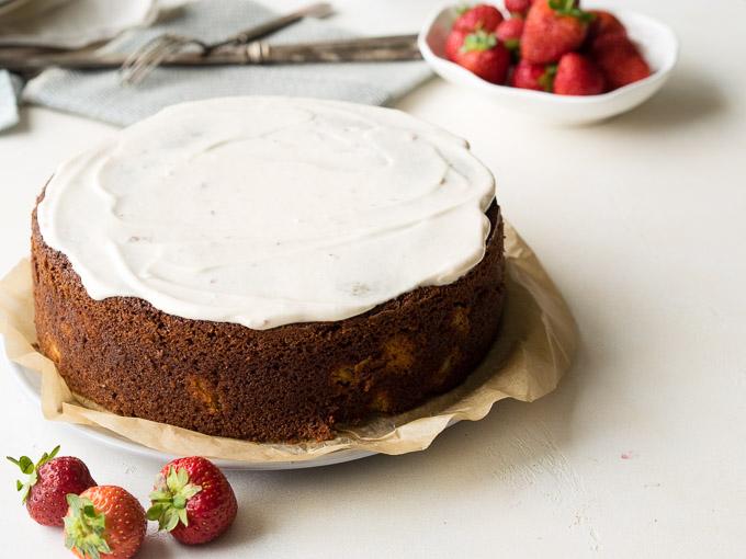Strawberry Rhubarb Old Fashioned Rhubarb Cake Recipe | The Worktop