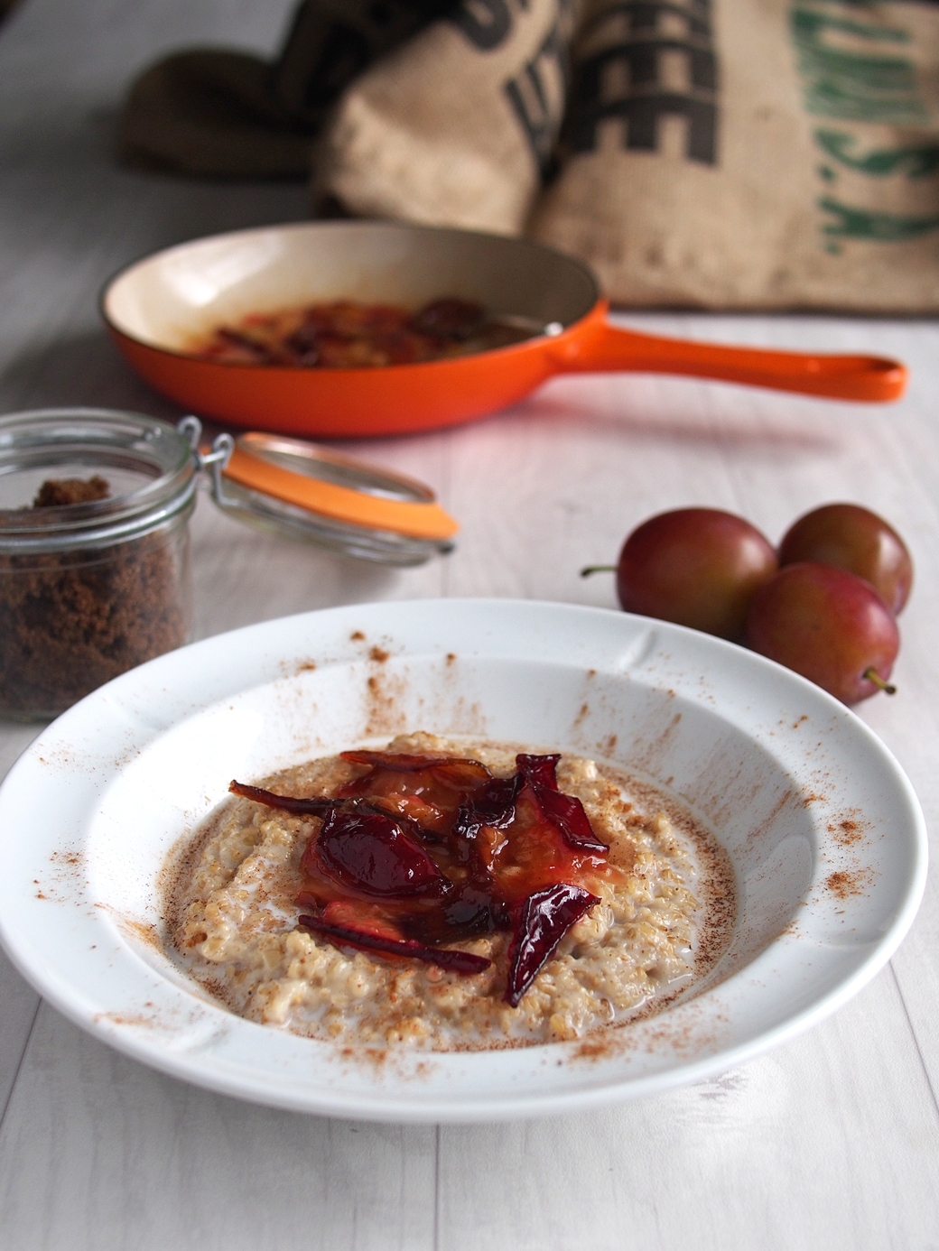 Toasted Oatmeal with Seared Plums