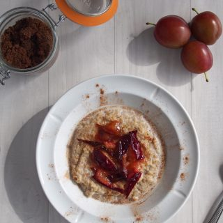 Steel Cut Oats with Seared Plums