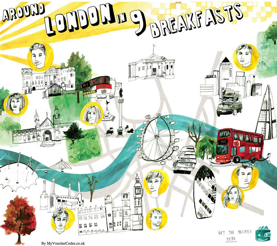 Illustrative Interactive Map: Around London in 9 Breakfasts