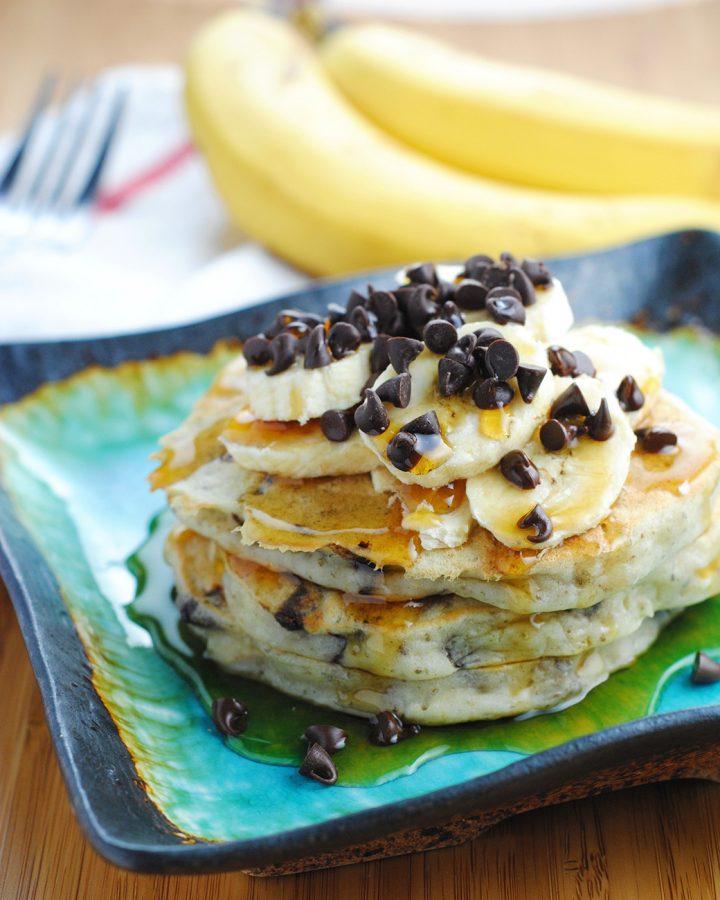 Banana Chocolate Chip Vegan Pancakes