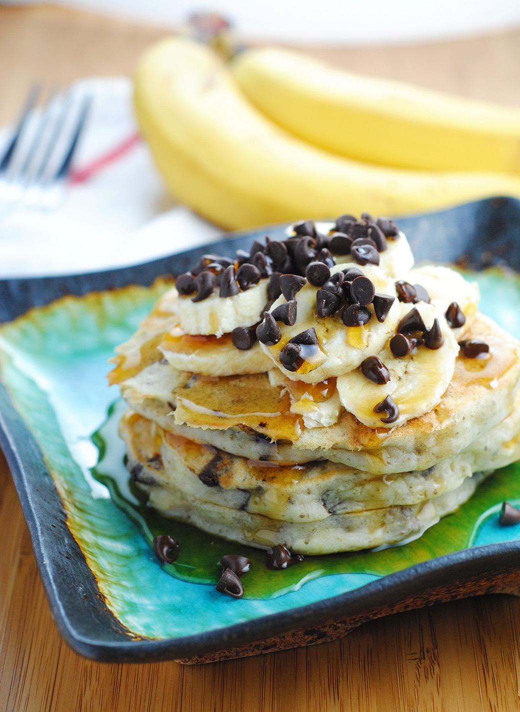 Banana Chocolate Chip Vegan Pancakes (Vegan, Dairy-free) by The Blenderist