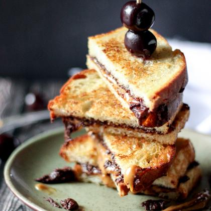 Grilled Salted Caramel Dark Chocolate Coffee Sandwiches