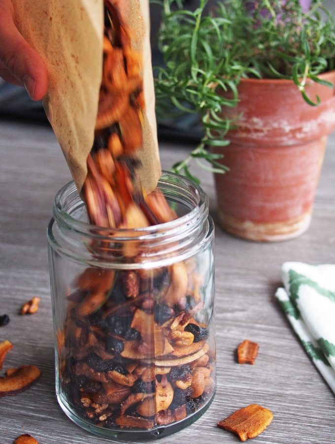 Rosemary and Cayenne Coconut Chips (Toasted Trail Mix) (Vegan, GF)