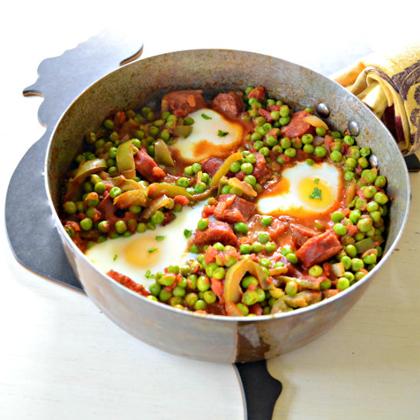 Peas Linguica and Eggs