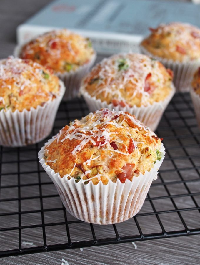 Savory Muffins with Bacon, Parmesan and Spring Onions