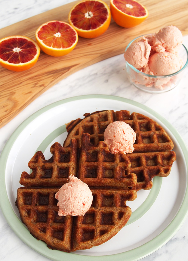 Sprouted Buckwheat Waffles with Blood Orange Whipped Butter