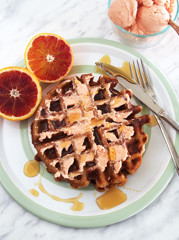 Buckwheat Waffles with Blood Orange Whipped Butter (GF)