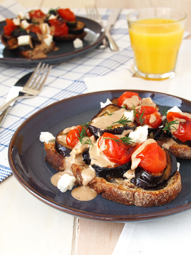 Black Garlic Aubergine Toast