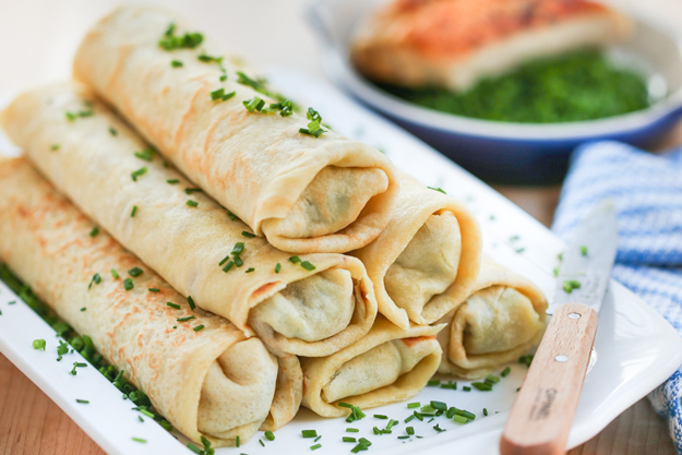 Guest Post: Chicken & Chive Rolled Crepes by Thirsty for Tea
