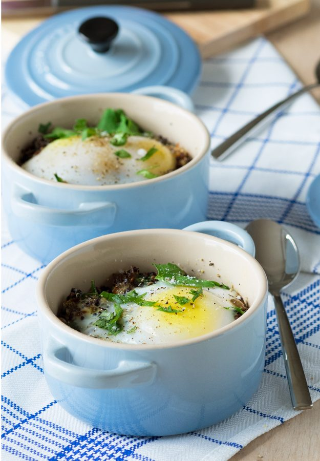 Individual Baked Duck Eggs With Quinoa (GF, Dairy-free)