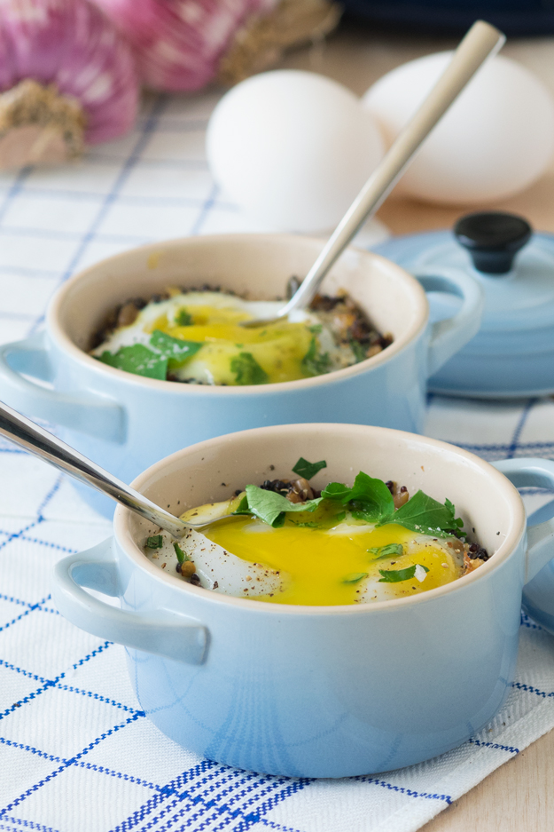 Individual Baked Duck Eggs with Quinoa