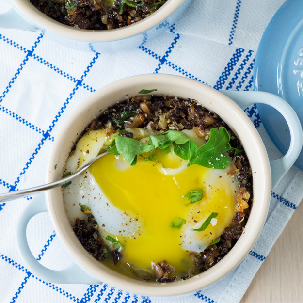 Individual Baked Duck Eggs with Quinoa (GF) | The Worktop