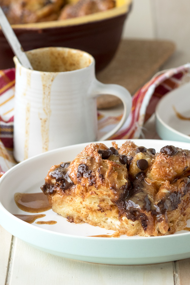 Croissant Bread Pudding with Almond Butter Drizzle