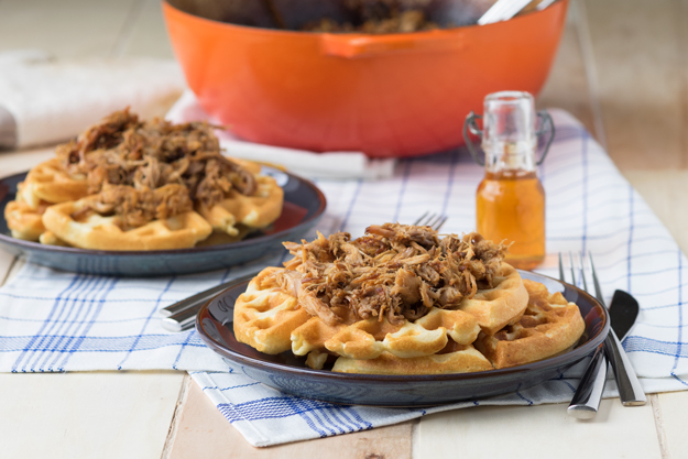 Pulled Pork on Cornmeal Waffles