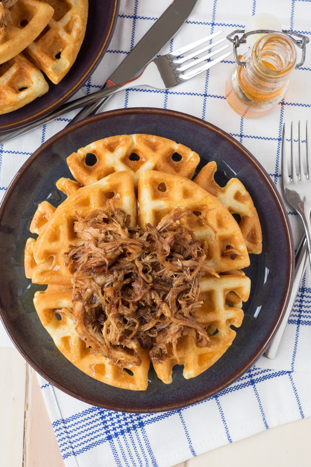 The Perfect Pair: Pulled Pork on Cornmeal Waffles