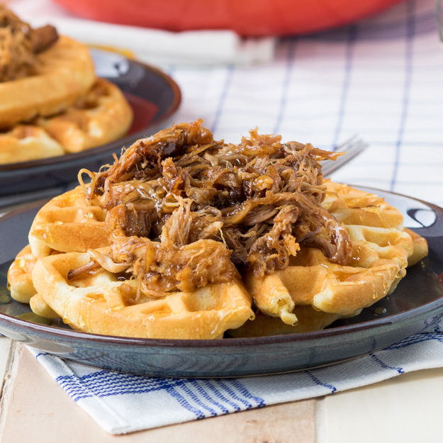 Pulled Pork on Cornmeal Waffles