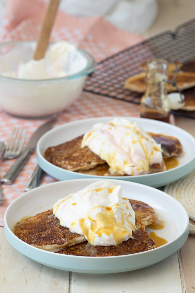 Cornmeal and Spelt Flour Pancakes with Rhubarb Whipped Cream..