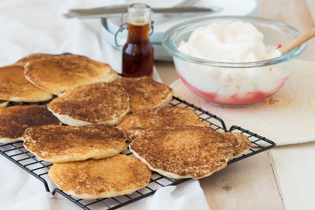 Cornmeal and Spelt Flour Pancakes with Rhubarb Whipped Cream | The Worktop
