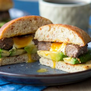 Breakfast Burger with Egg in Bacon Brioche   The Worktop -- a surprise egg in the center of the patty! #breakfast #burger