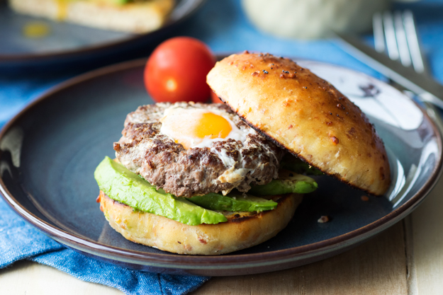 Breakfast Burger with Egg in Bacon Brioche | The Worktop -- a surprise egg in the center of the patty! #breakfast #burger