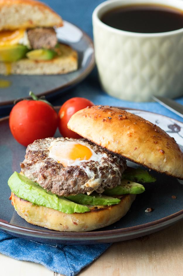 Egg-In-A-Hole Breakfast Burger On Cheddar Bacon Brioche