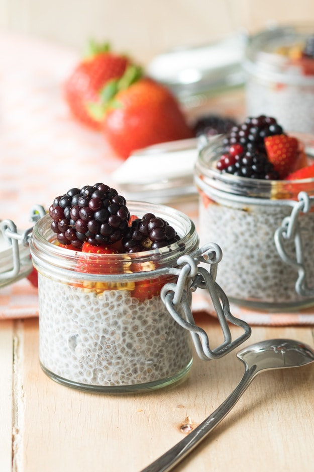 Overnight Chia Seed Pudding with Almond Milk (Vegan, GF)