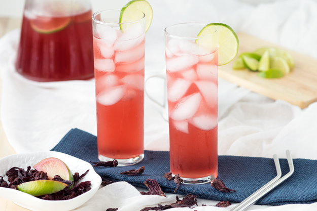 Agua de Jamaica (Hibiscus Lime Cooler) with Coconut Water | The Worktop -- for a beautiful drink!