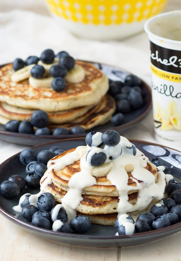 Vanilla Yogurt Pancakes with Poppy Seeds
