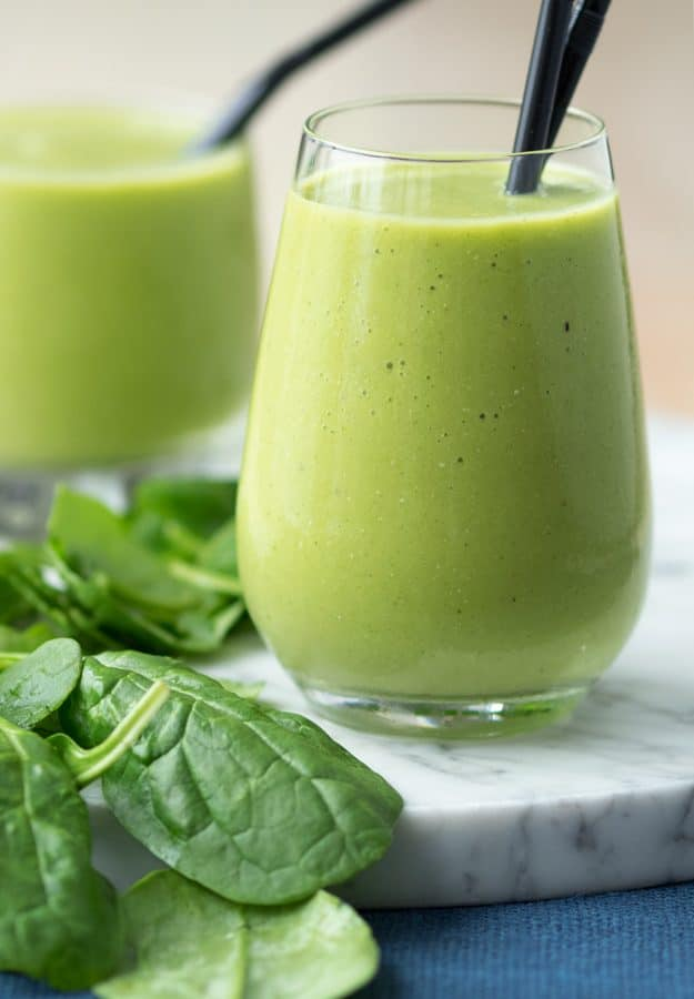 Healthy Green Smoothie for Breakfast with Spinach