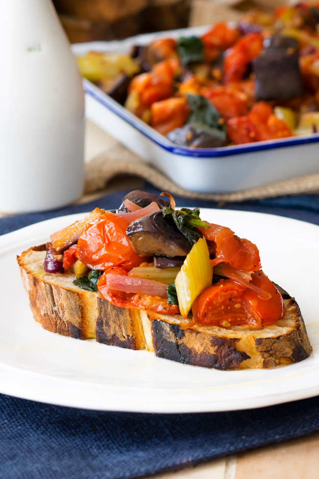 Brunch Capontata Toast - a Sicilian favorite turned into a beautiful vegetarian brunch!   The Worktop