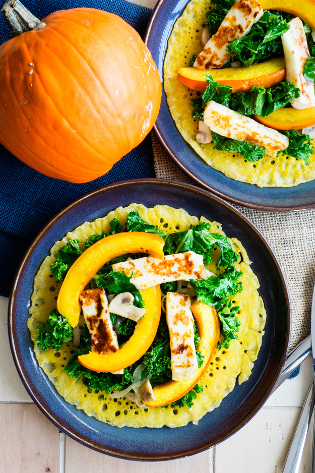 Farinata with Red Kuri Squash and Kale (Vegan, GF)
