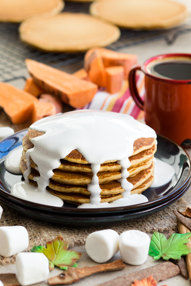 Sweet Potato Pancakes with Marshmallow Sauce for a festive fall breakfast | The Worktop