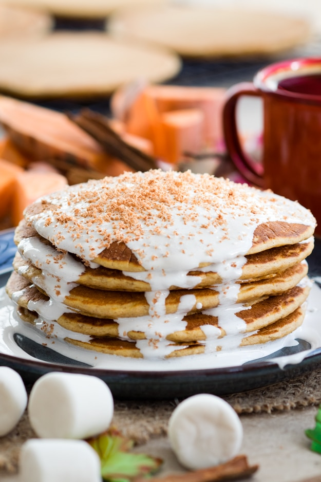 Sweet Potato Pancakes with Marshmallow Sauce
