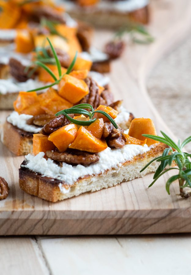 Sweet Potato and Candied Pecans Bruschetta