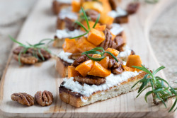 Brunch Bruschetta with Sweet Potatoes and Candied Pecans