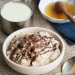 Eggnog Rice Pudding - topped with chocolate drizzle | The Worktop