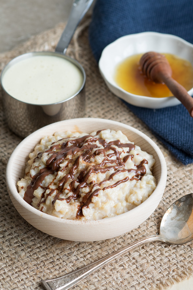 Eggnog Rice Pudding - topped with chocolate drizzle - for Christmas breakfast | The Worktop