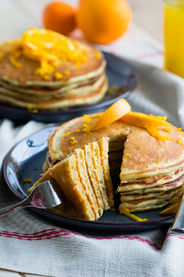 Orange and Ricotta Pancakes with Orange Syrup
