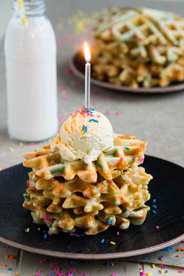 Birthday Breakfast Cake - Funfetti Waffles | The Worktop