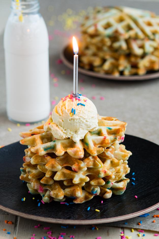 Funfetti Waffles For A Special Birthday Breakfast