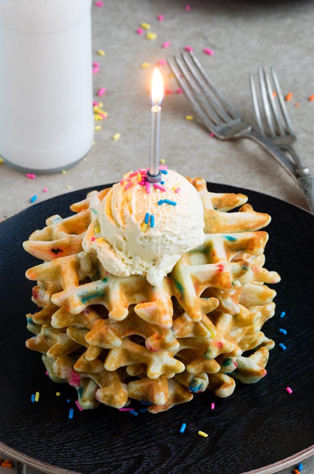 Funfetti Waffles For A Special Birthday Breakfast The