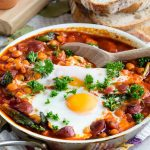 Chorizo Chickpea and Baked Eggs
