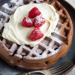 Dark Chocolate Waffles with Mascarpone Whip for a Breakfast Brunch Idea